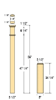"C-4291-Adjustable 5"" Box Newel"