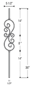 Hollow Knee Wall Small Scroll Iron Baluster