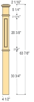 "C-4691-Flat Panel 4 1/2"" Box Newel"