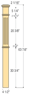 "C-4695-F - Fluted 4 1/2"" Box Newel"