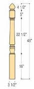 "Marion Starting Newel - 3 1/2"" x 48"" - C-4282"